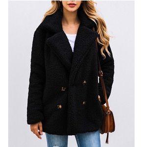 Black Faux Shearling Coat